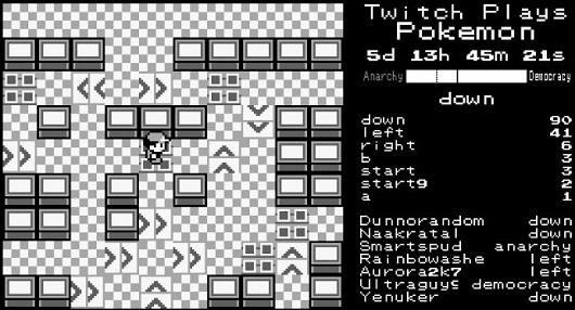 Exemple d'un vote en mode démocratie sur Twitch Plays Pokemon.