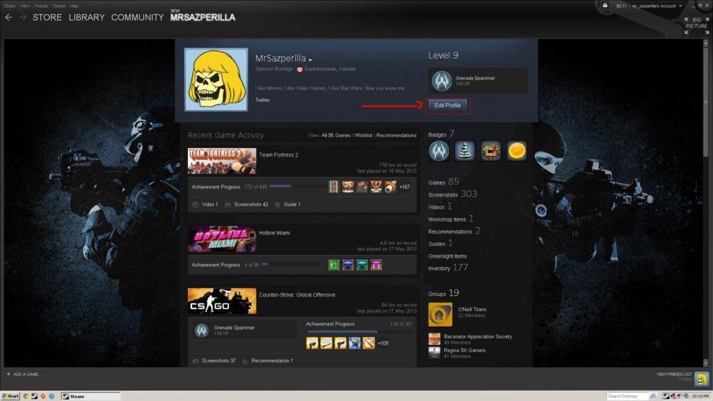Profil sur Steam
