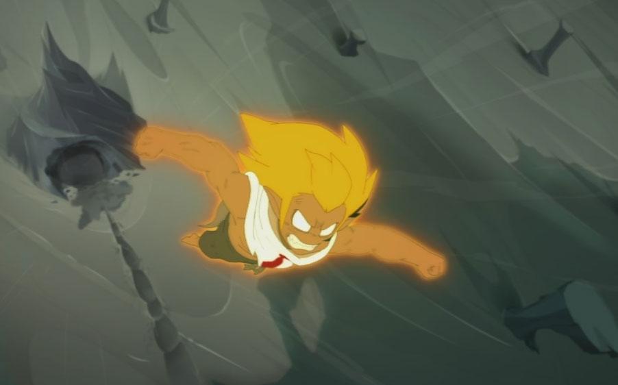 Tristepin sous sa forme divine dans l'OAV précédent la saison 3.